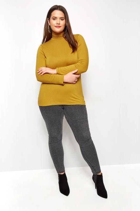 Mustard Turtleneck Top