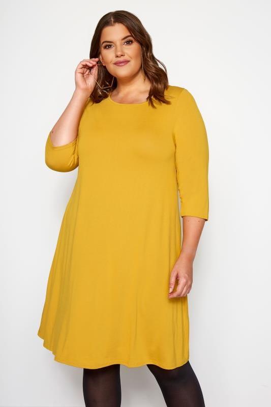 Plus Size Jersey Dresses Mustard Swing Dress