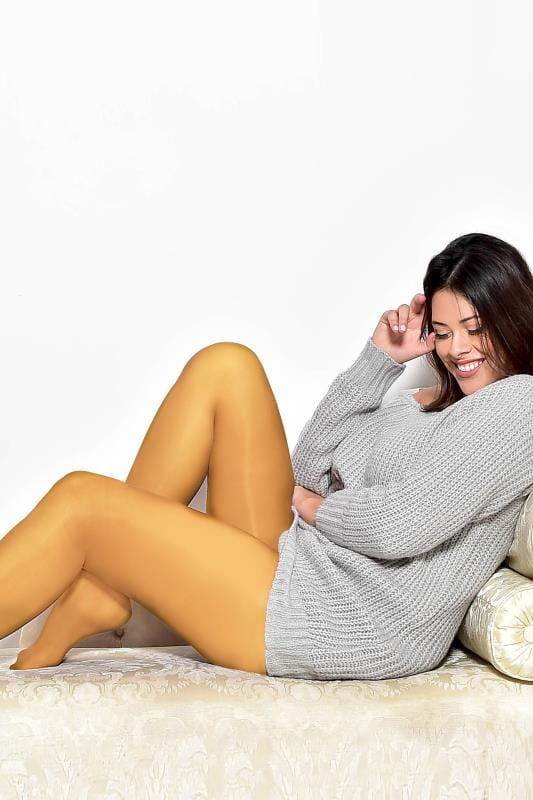 Plus Size Tights Mustard Yellow 50 Denier Tights