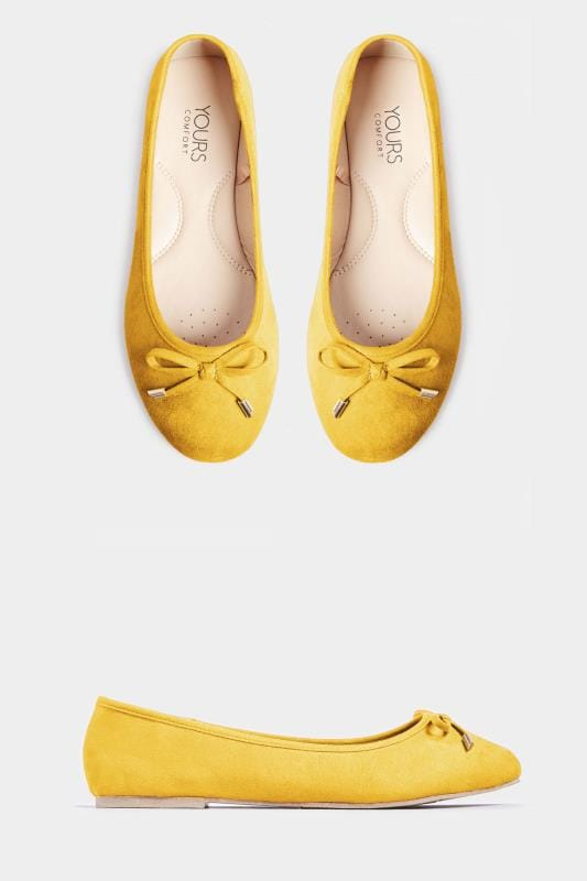 Mustard Yellow Ballerina Pumps In Extra Wide Fit