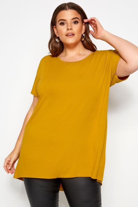 Plus Size Dipped Hem Tops Mustard Yellow Dipped Hem Top