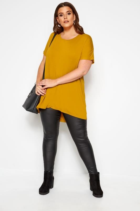 Mustard Yellow Dipped Hem Top