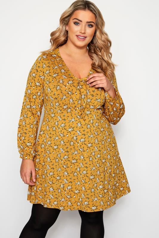 Plus Size Floral Tops Mustard Yellow Ditsy Floral Print Tunic