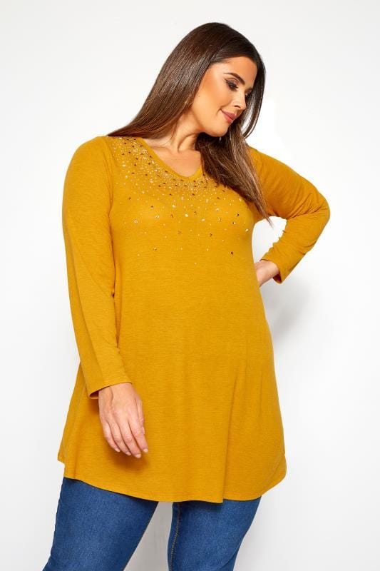 Plus Size Day Tops Mustard Yellow Embellished Swing Top