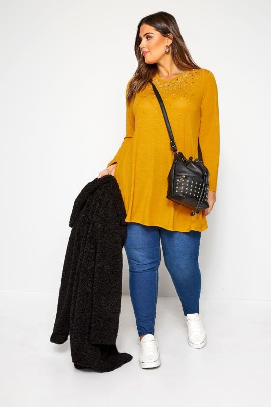 Mustard Yellow Embellished Swing Top