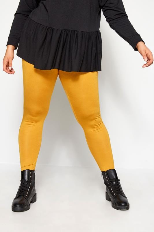 Plus Size Fashion Leggings Mustard Yellow Fashion Leggings