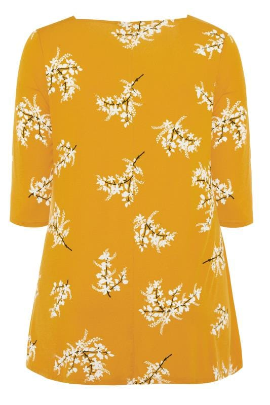 Mustard Yellow Floral Jersey Swing Top
