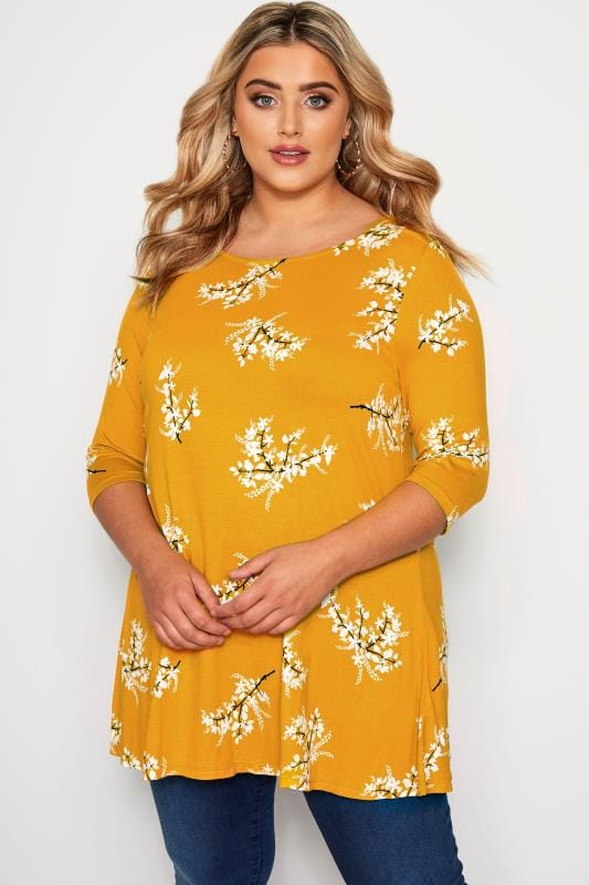 Plus Size Jersey Tops Mustard Yellow Floral Jersey Swing Top