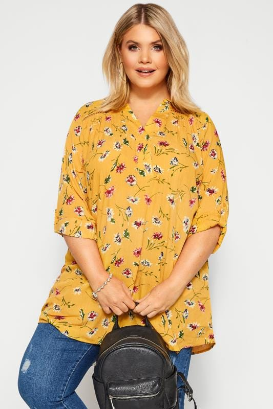 Plus Size Blouses & Shirts Mustard Yellow Floral Print Overhead Shirt