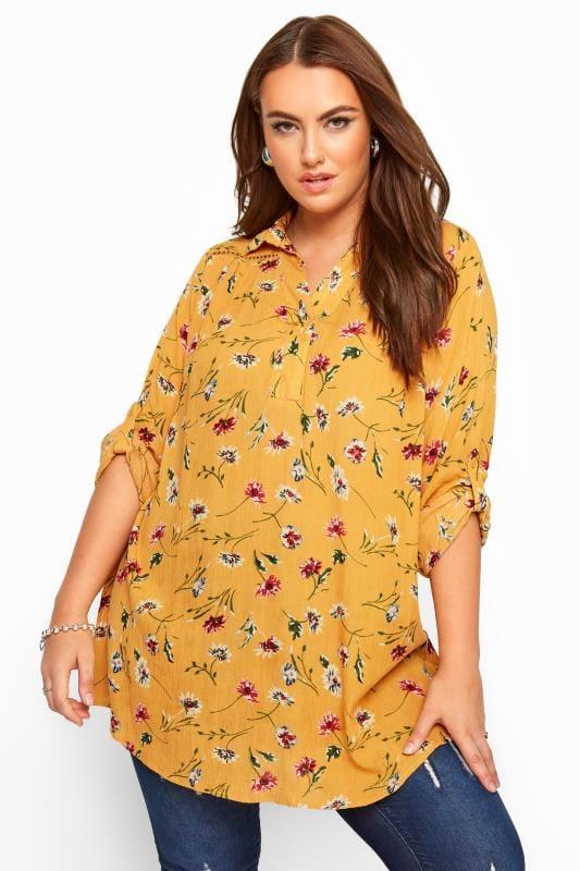 Mustard Yellow Floral Print Overhead Shirt