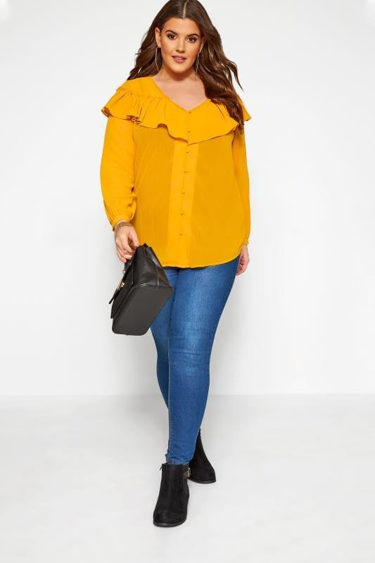 Plus Size Chiffon Blouses Mustard Yellow Frill Chiffon Blouse