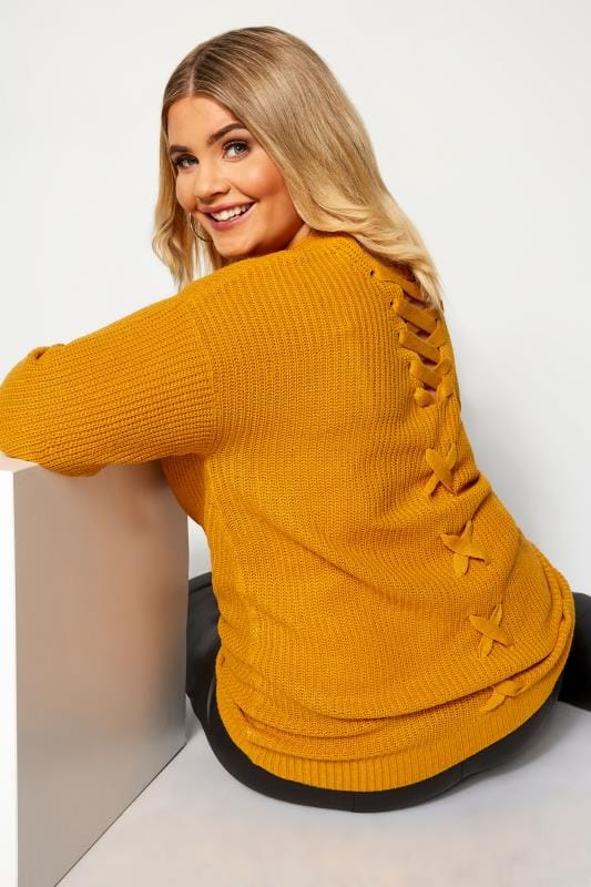 Plus Size Jumpers Mustard Yellow Lace Back Jumper