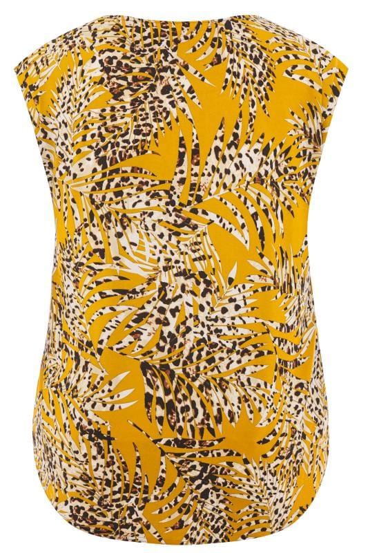 Mustard Yellow Leopard Leaf Print Top