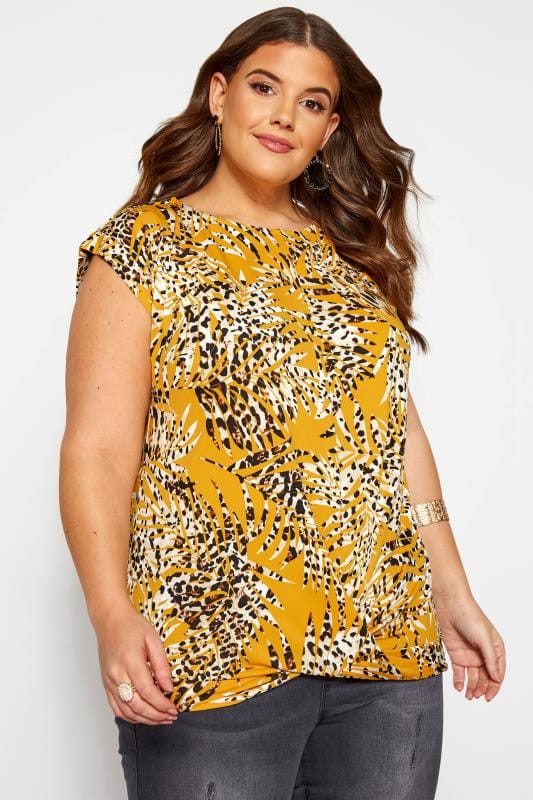 Plus Size Day Tops Mustard Yellow Leopard Leaf Print Top
