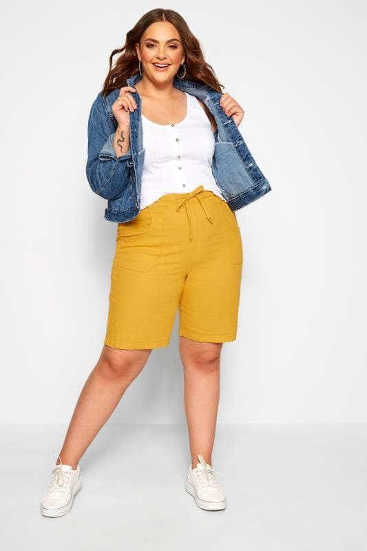 Plus Size Linen Mix Shorts Mustard Yellow Linen Mix Shorts