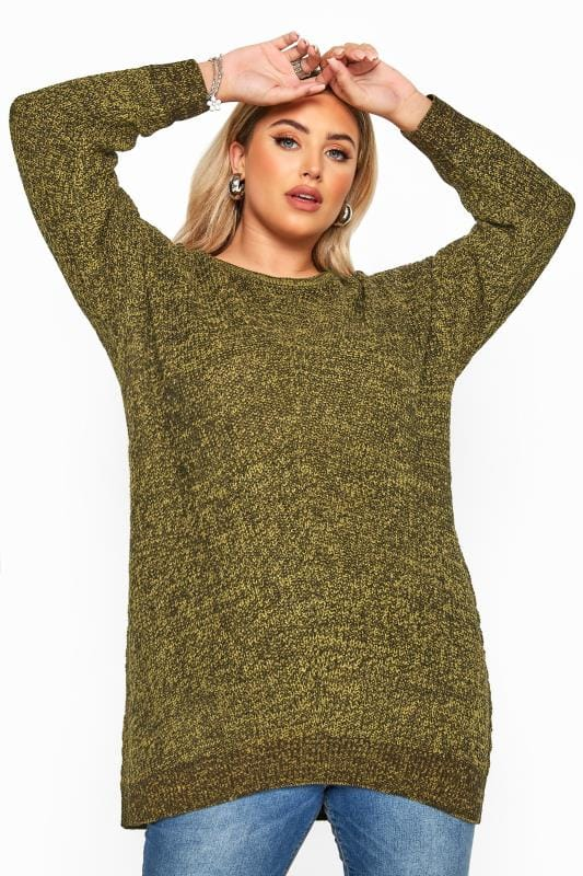 Plus Size Jumpers Mustard Yellow Marl Chunky Knitted Jumper