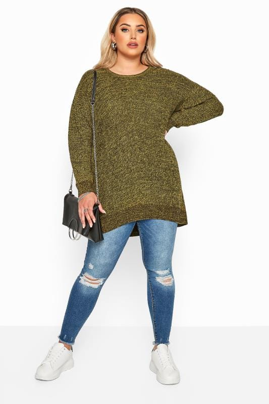 Mustard Yellow Marl Chunky Knitted Jumper