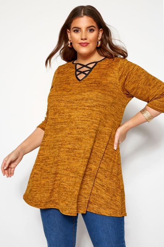 Plus Size Knitted Tops Mustard Yellow Marl Lattice Notch Swing Top