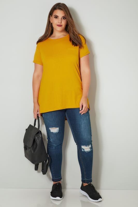 Mustard Yellow Mock Pocket T-Shirt With Curved Hem