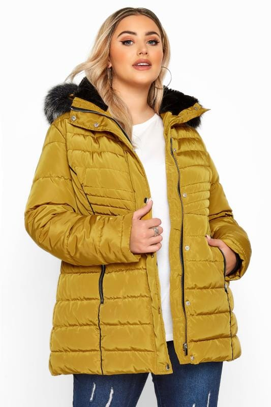 Plus Size Puffer & Quilted Jackets Mustard Yellow Panelled Puffer Coat