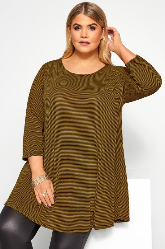 Plus Size Tunics Mustard Yellow Striped Swing Tunic Top
