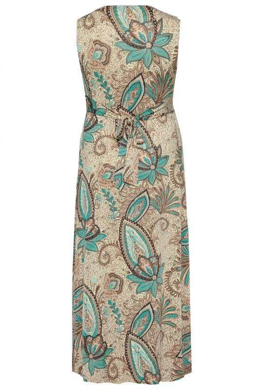 Natural Paisley Knot Front Maxi Dress