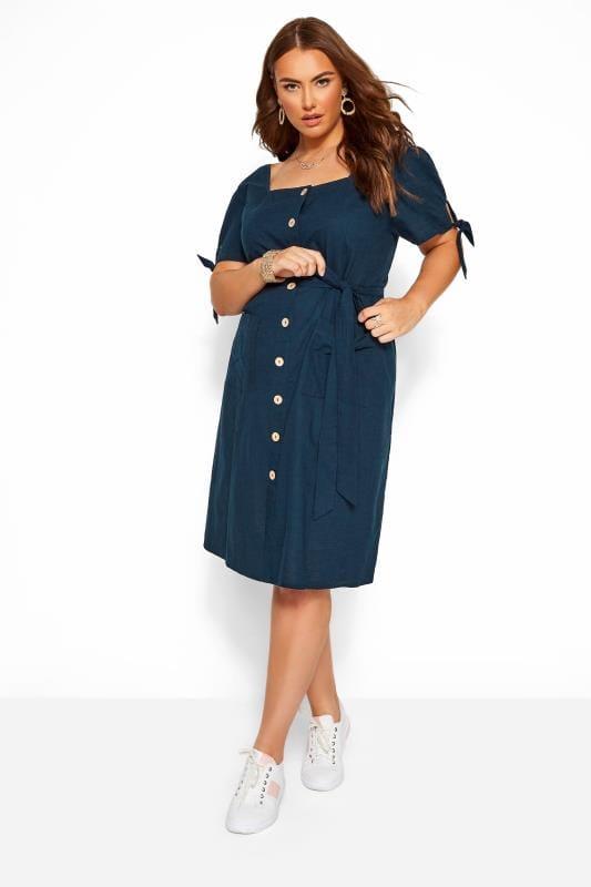 Navy Button Through Cotton Dress