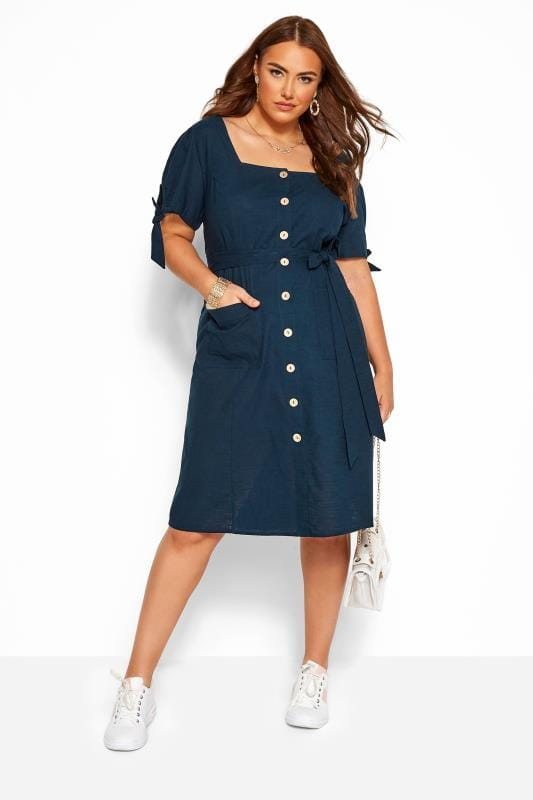 Plus Size Casual Dresses Navy Button Through Cotton Dress