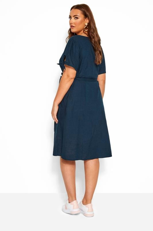Navy Button Through Cotton Dress