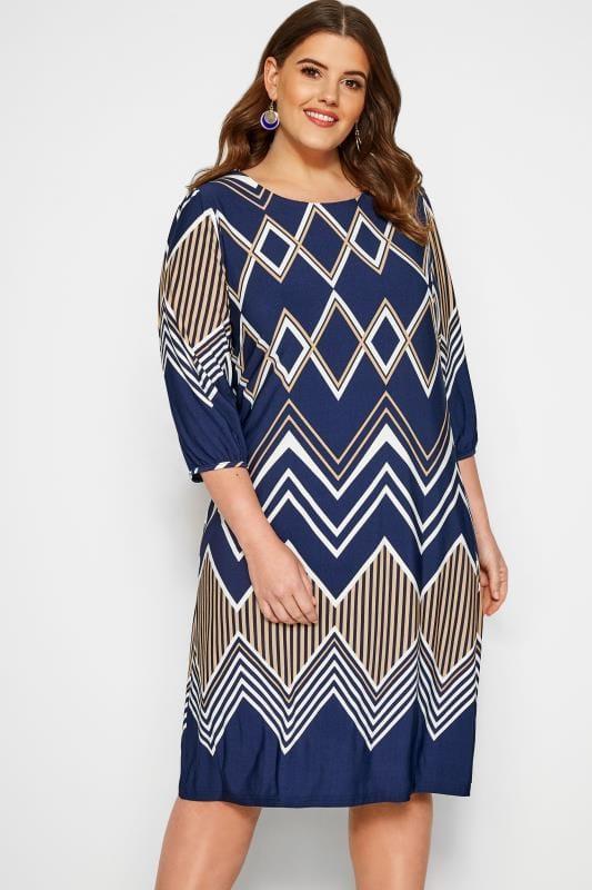 Plus Size Sleeved Dresses Navy Geometric Print Shift Dress