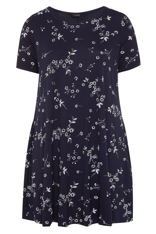 Navy Floral Pocket Swing Dress