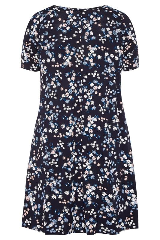 Navy & Blue Floral Pocket Swing Dress