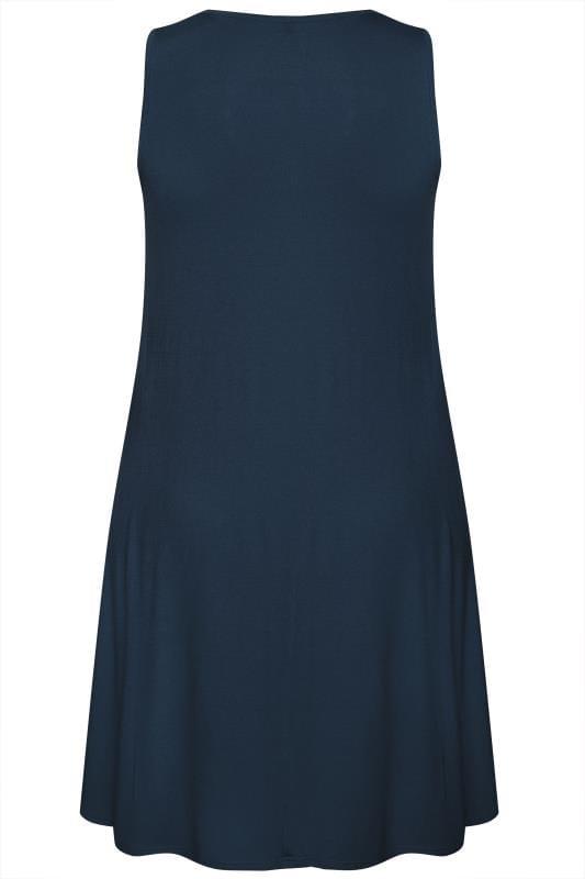 Navy Sleeveless Drape Pocket Dress