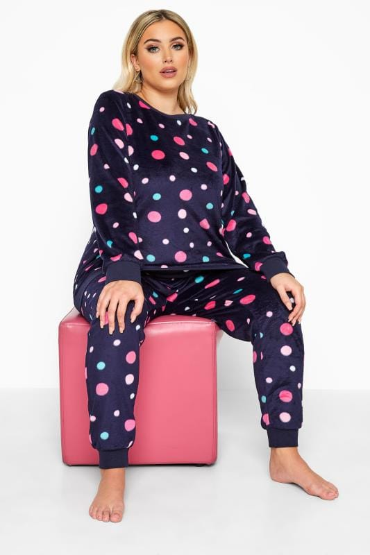 Plus Size  Navy Spotted Fleece Lounge Set