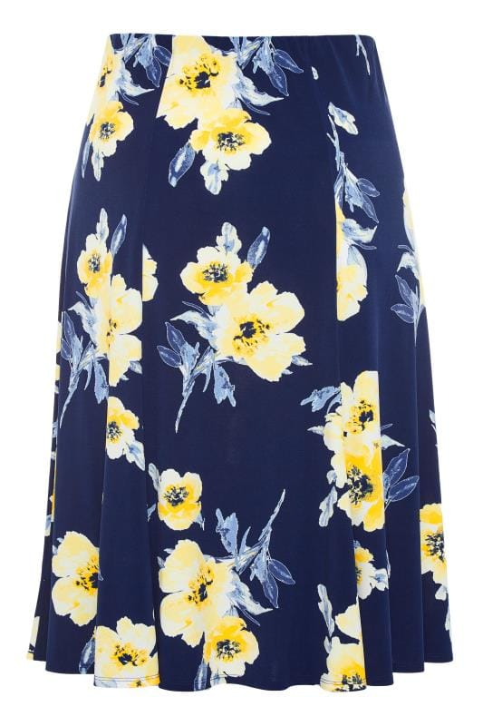 Plus-Größen Midi Skirts Navy & Yellow Floral Midi Skirt