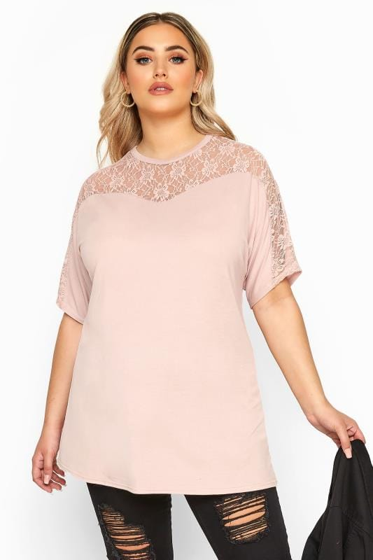 Plus Size T-Shirts LIMITED COLLECTION Pink Lace Insert Top
