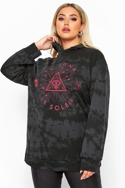 LIMITED COLLECTION Black Tie Dye Neon Astrology Hoodie