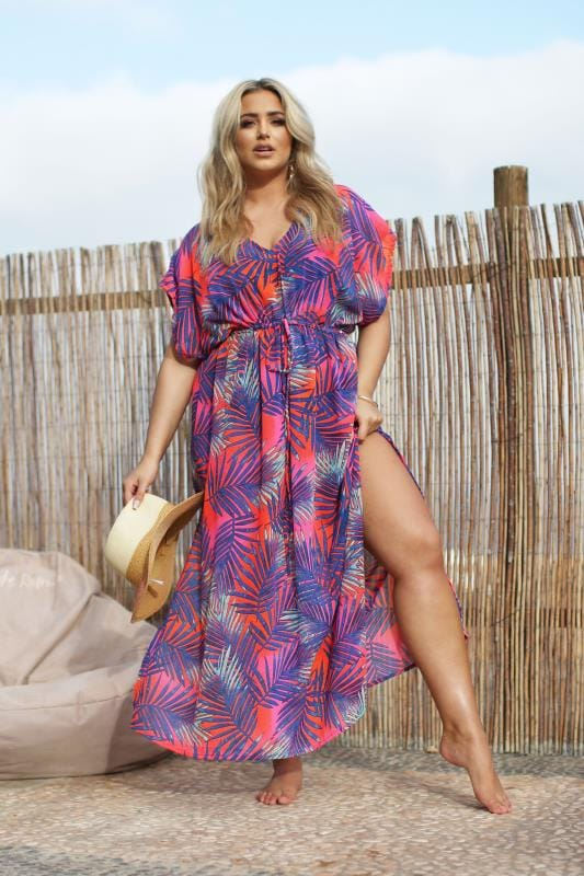 Plus Size Kaftans & Cover Ups Neon Mulitcoloured Tropical Leaf Maxi Cover Up