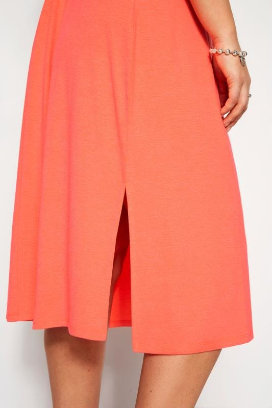 Must Have Summer Dress Neon Orange Ring Detail Midi Dress