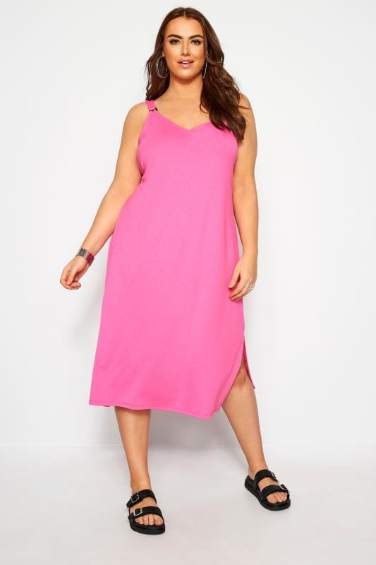 Must Have Summer Dress Neon Pink Ring Detail Midi Dress