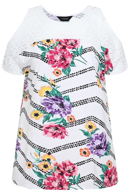 White Floral Zig Zag Cold Shoulder Top