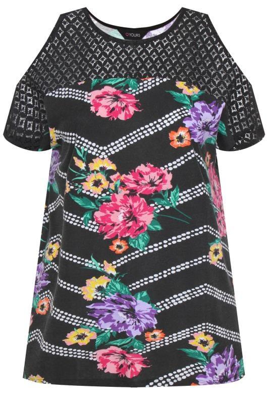 Black Floral Zig Zag Cold Shoulder Top