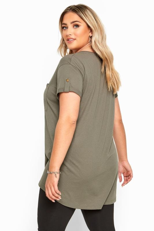 Khaki Pocket Dipped Hem T-Shirt