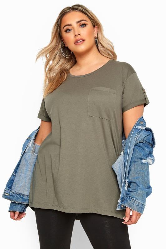 Plus Size T-Shirts Khaki Pocket Dipped Hem T-Shirt