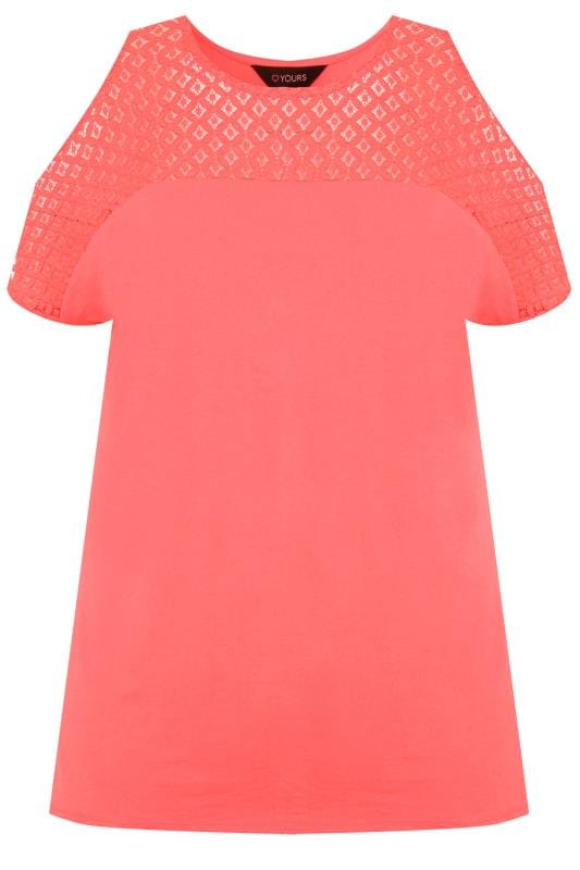 Coral Pink Cold Shoulder Top