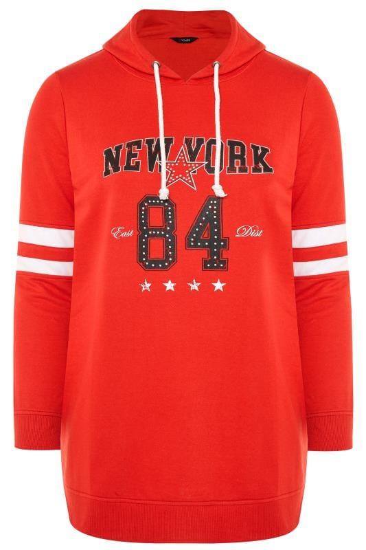Red 'New York' Slogan Hoodie
