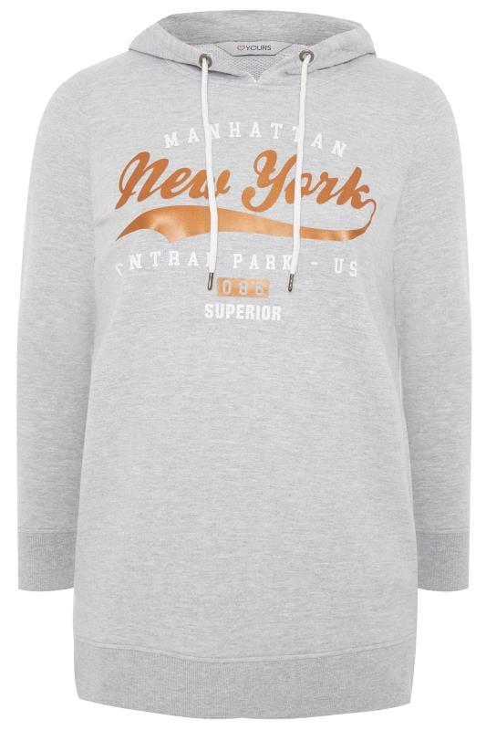 Grey Marl 'New York' Slogan Hoodie