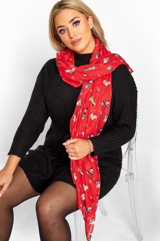 Yours Red Sequin Christmas Novelty Dog Scarf