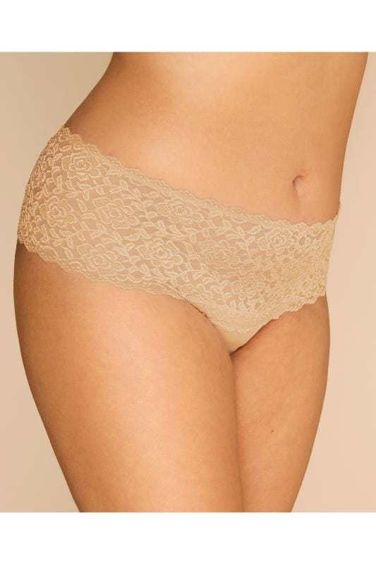 Plus Size Briefs & Knickers Nude Lace Brazilian Briefs