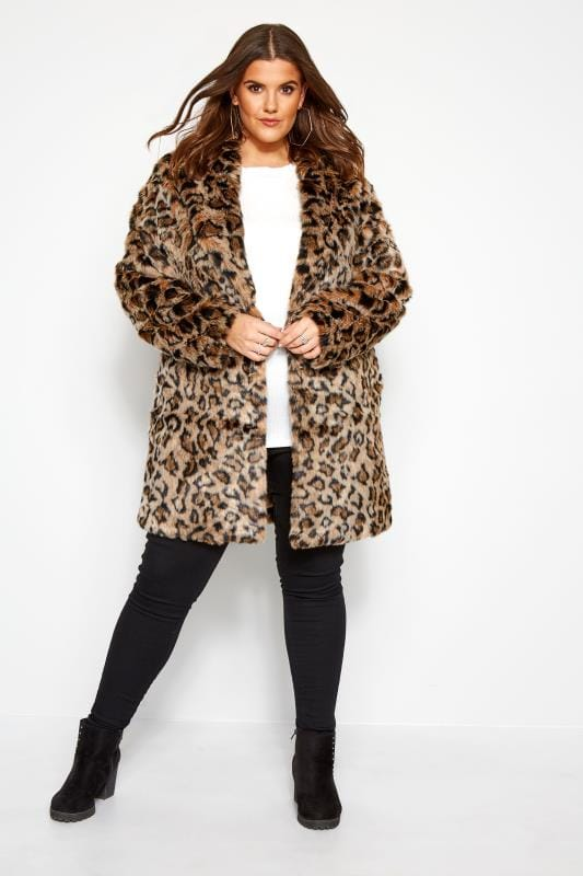 Faux Fur Coats Tallas Grandes Natural Animal Faux Fur Coat